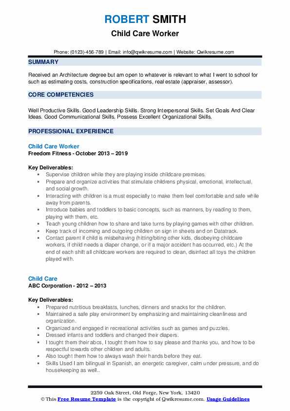 Child Care Worker Resume Format