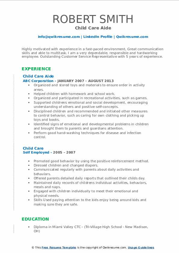 Child Care Aide Resume Format