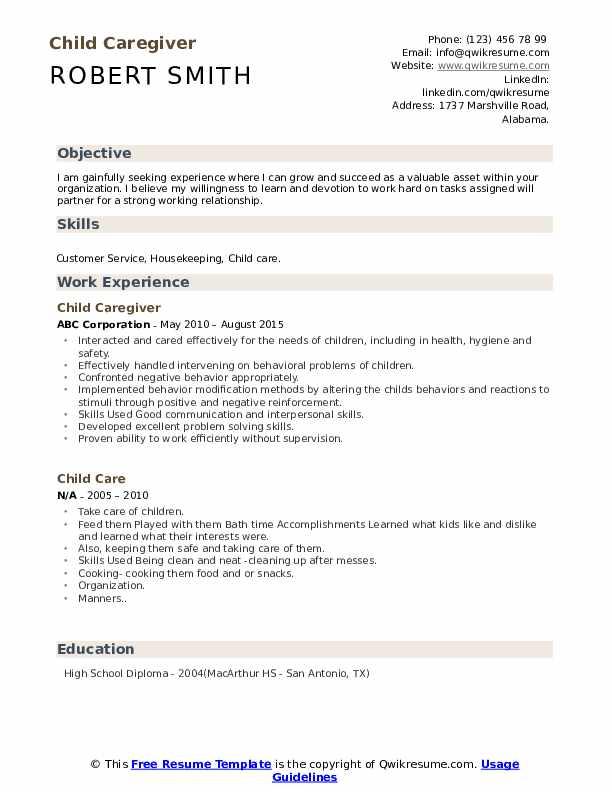 Child Caregiver Resume Model