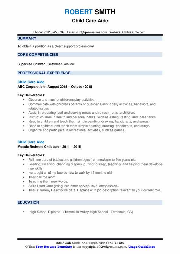 Child Care Aide Resume example