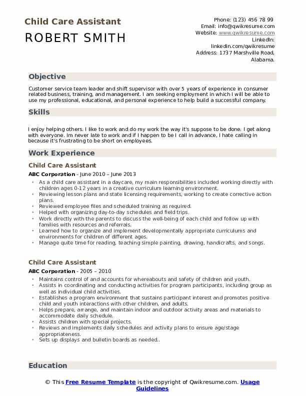 Child Care Assistant Resume Format