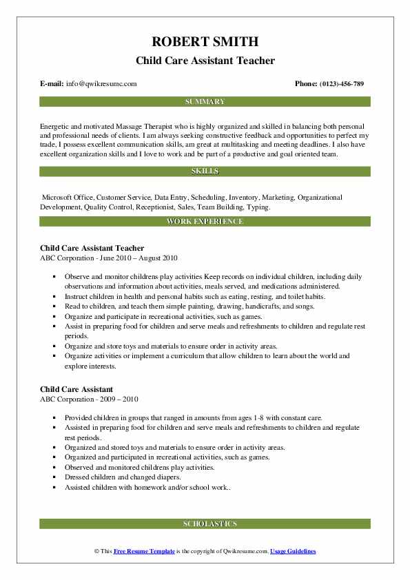 Child Care Assistant Teacher Resume Sample