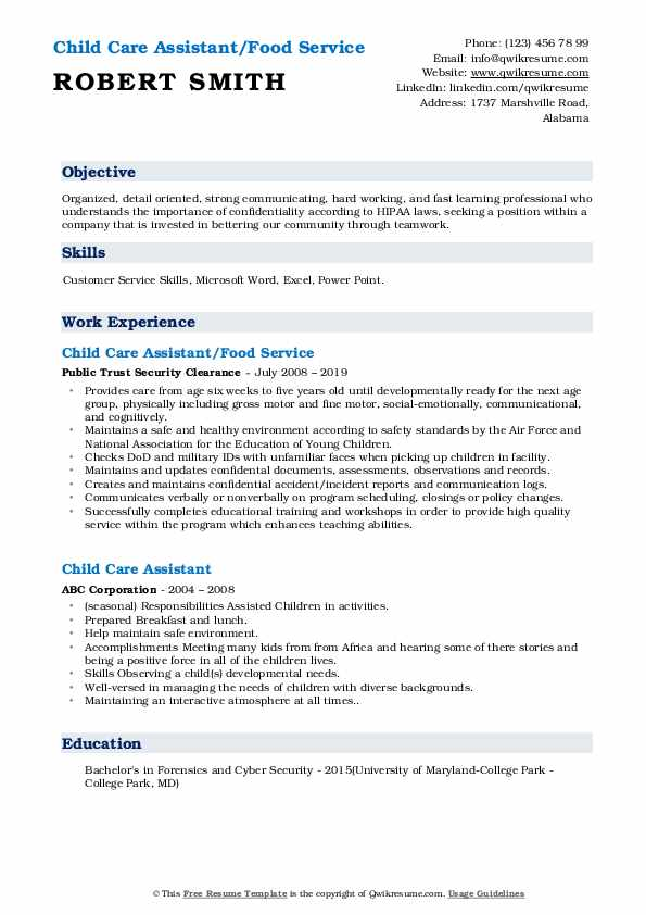 Child Care Assistant/Food Service Resume Format
