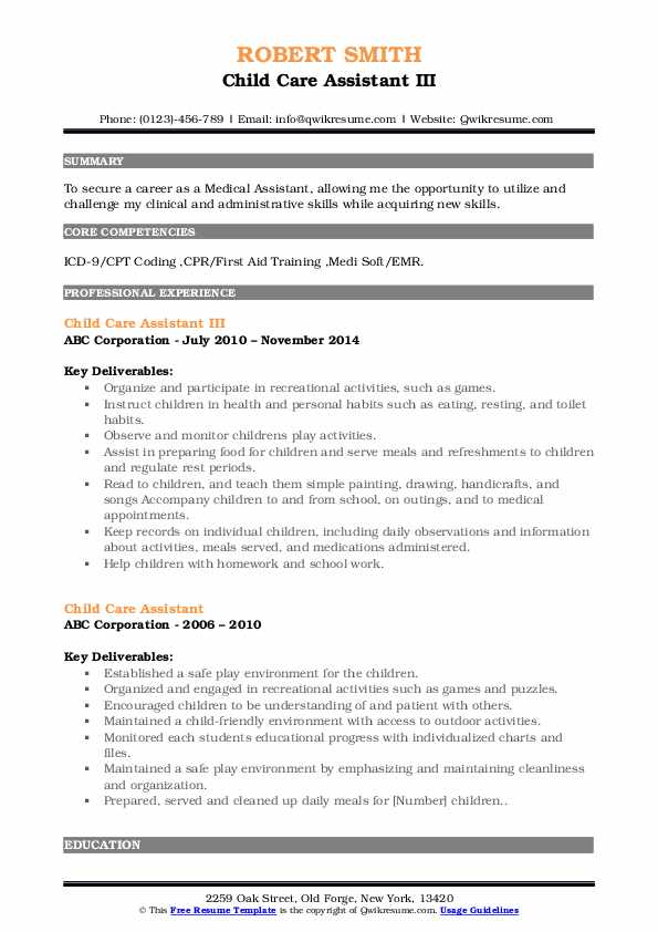Child Care Assistant III Resume Model