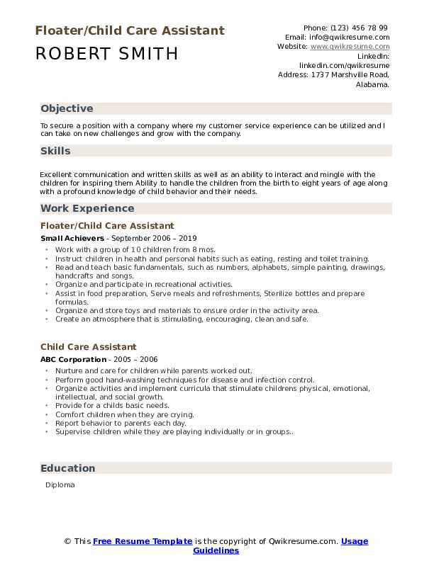 Floater/Child Care Assistant Resume Template