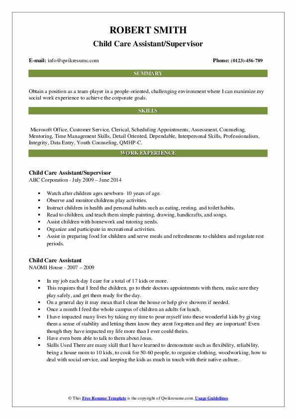 Child Care Assistant/Supervisor Resume Example