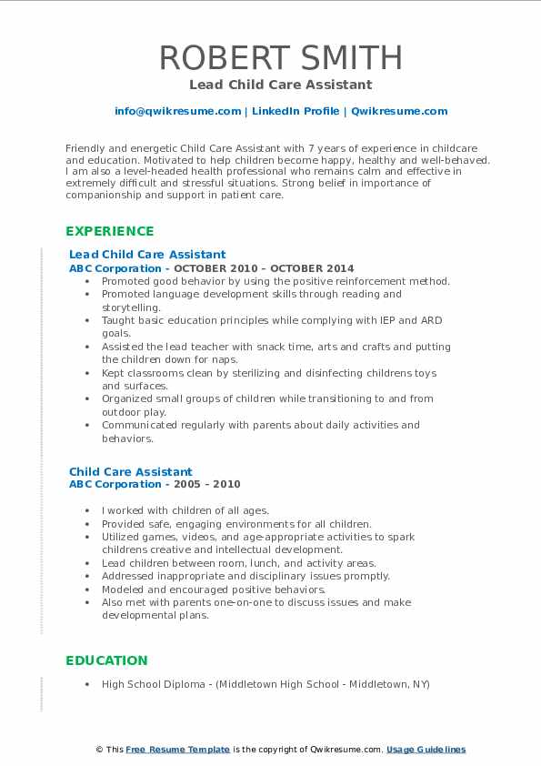 Lead Child Care Assistant Resume Sample
