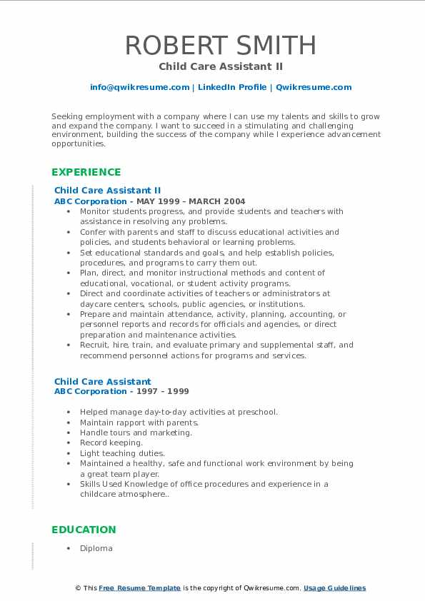 Call Center Specialist II Resume Template