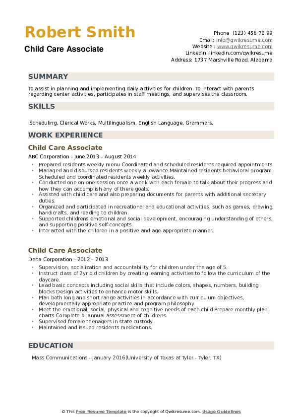 Child Care Associate Resume example
