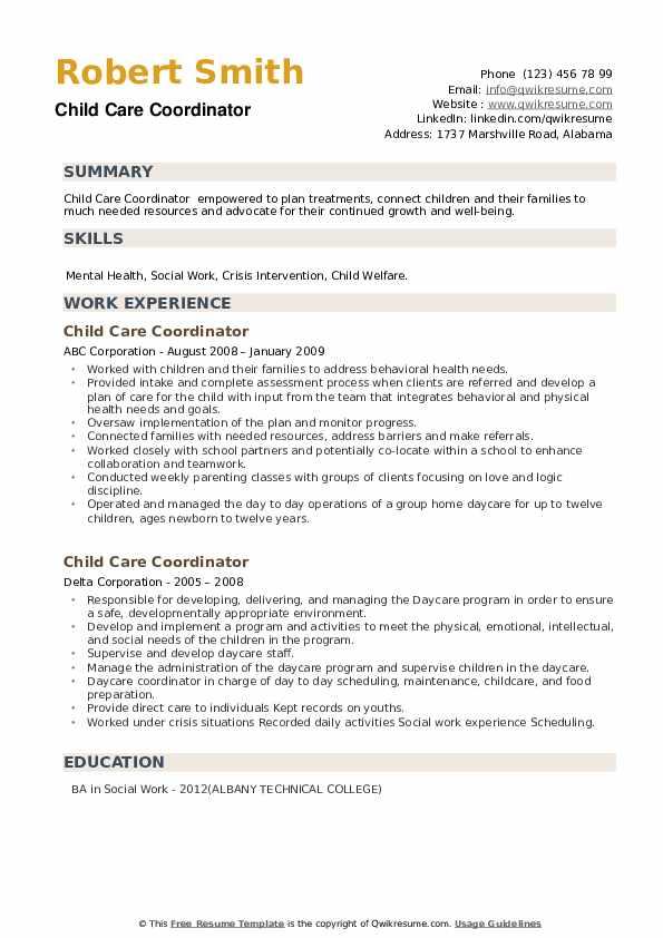 Child Care Coordinator Resume example