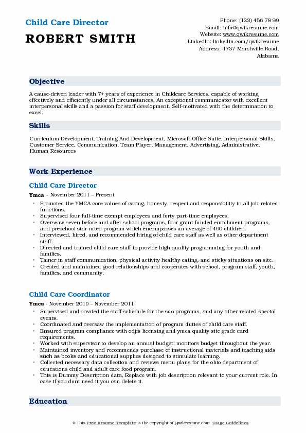 Child Care Director Resume Template