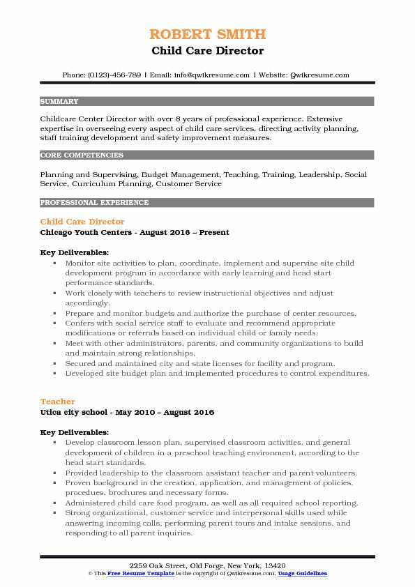Child Care Director Resume Format