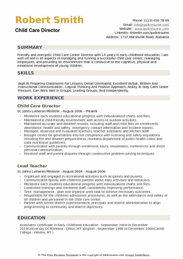 child care director resume samples