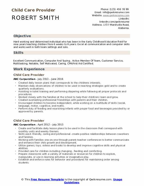Child Care Provider Resume Format