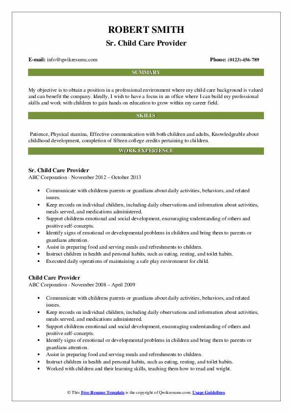 Sr. Child Care Provider Resume Format