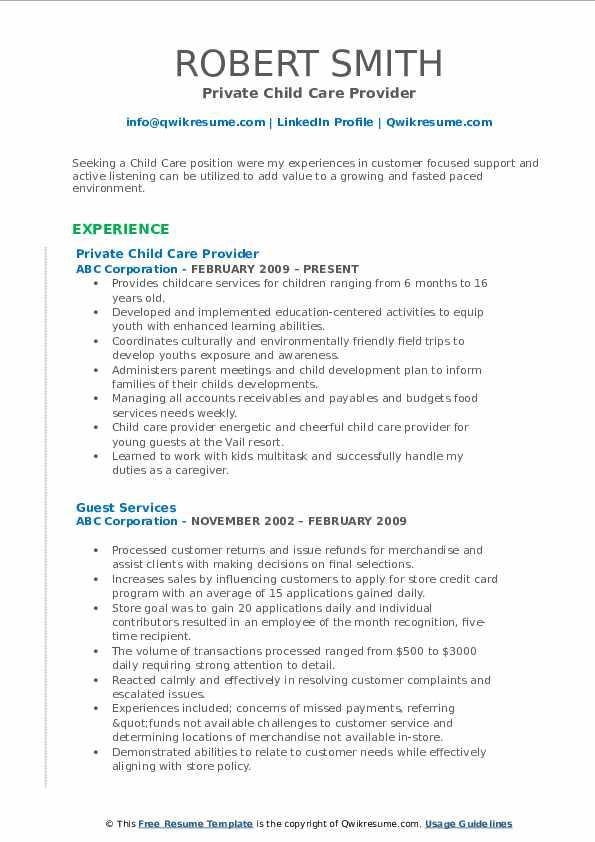 Private Child Care Provider Resume Model
