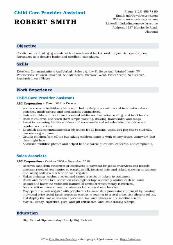 Child Care Provider Assistant Resume Example