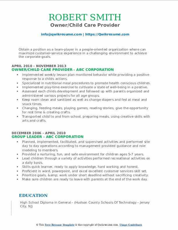 Owner/Child Care Provider Resume Format
