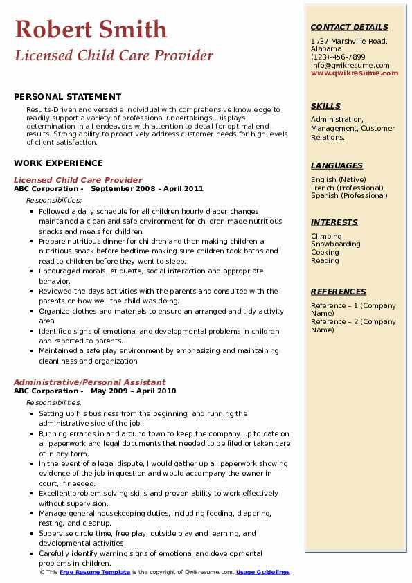 Licensed Child Care Provider Resume Format