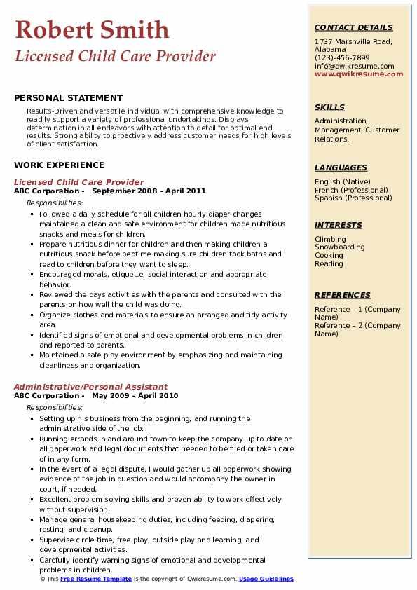 Licensed Child Care Provider Resume Sample