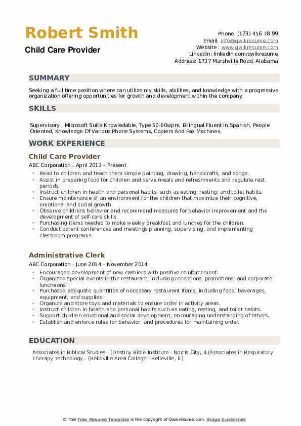 Child Care Provider Resume example