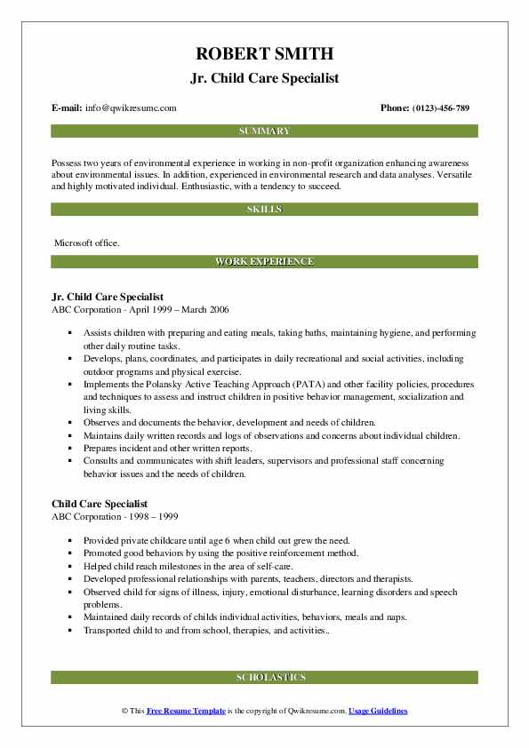Jr. Child Care Specialist Resume Template