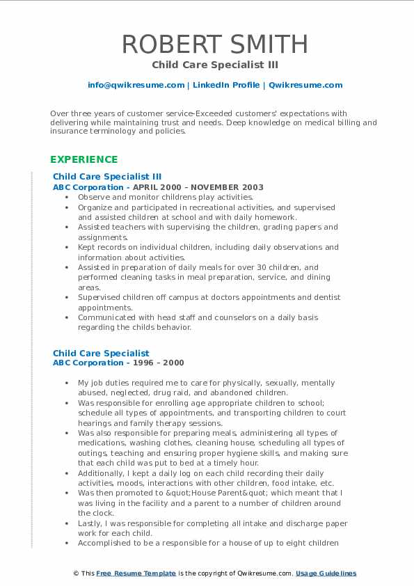 Child Care Specialist III Resume Example