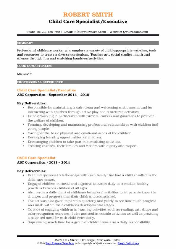 Child Care Specialist/Executive Resume Template