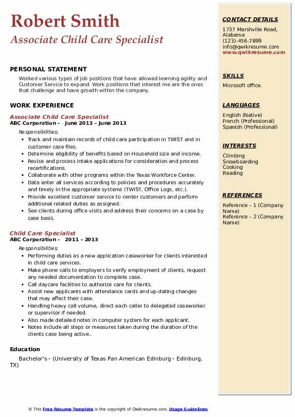 Associate Child Care Specialist Resume Template