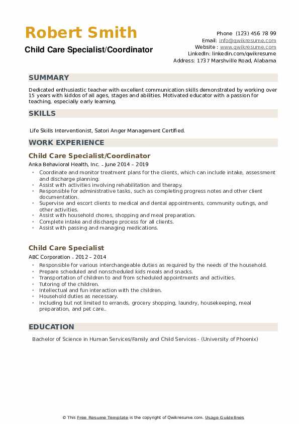 Child Care Specialist/Coordinator Resume Model