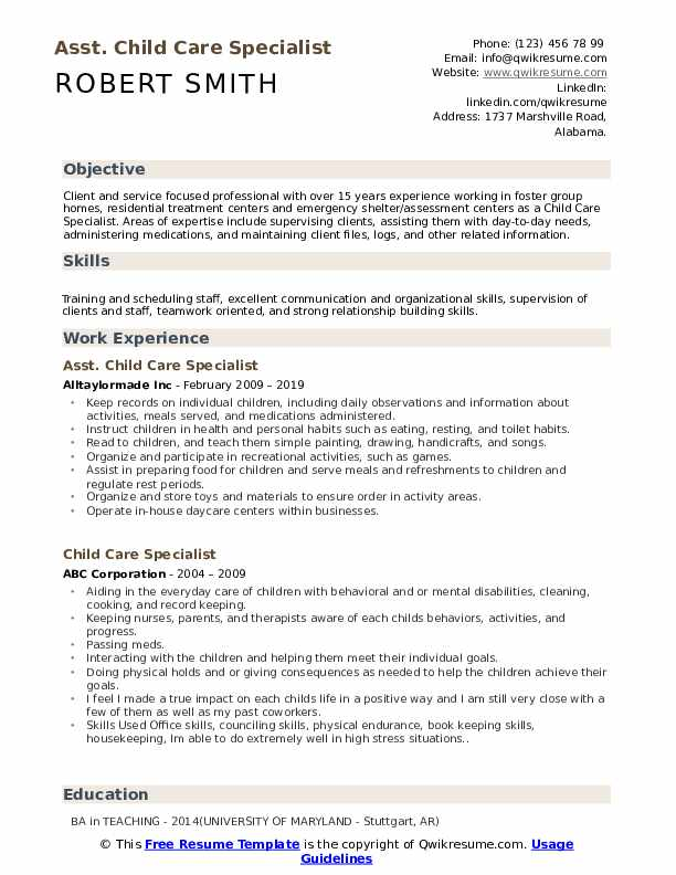 Asst. Child Care Specialist Resume Template
