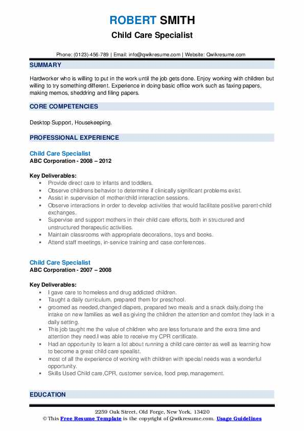 Child Care Specialist Resume example