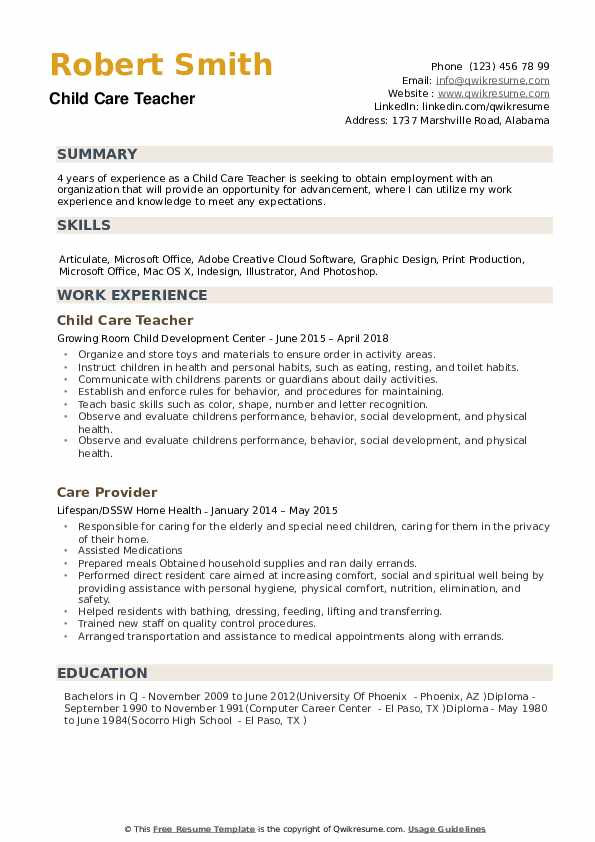 Child Care Teacher Resume Samples Qwikresume