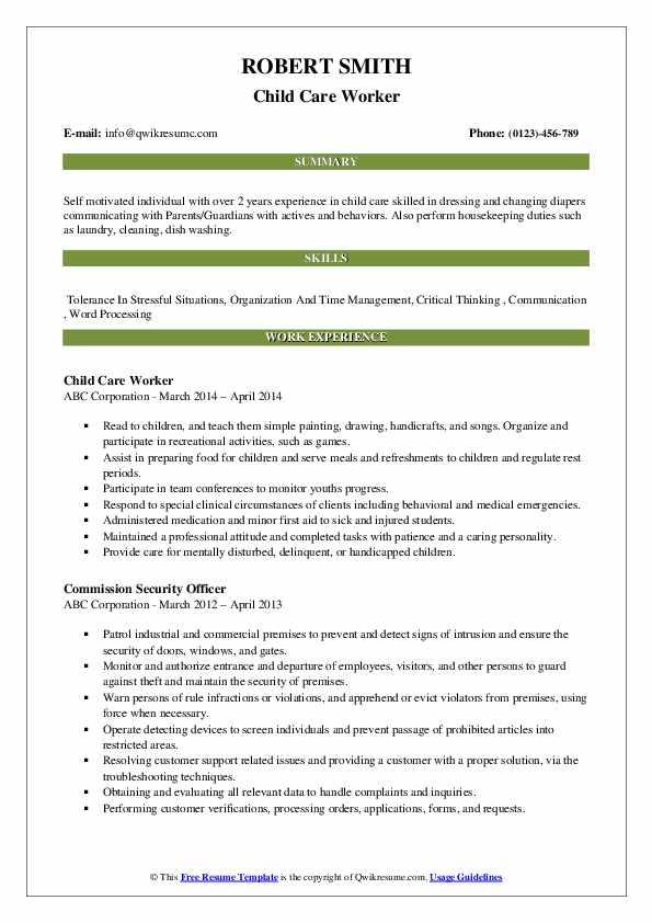 child care worker resume samples
