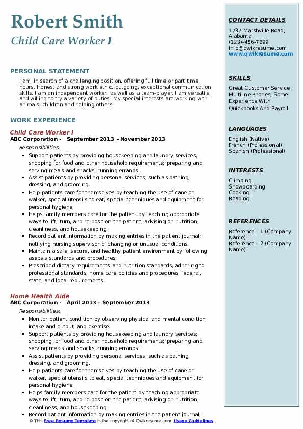Child Care Worker Resume Samples Qwikresume