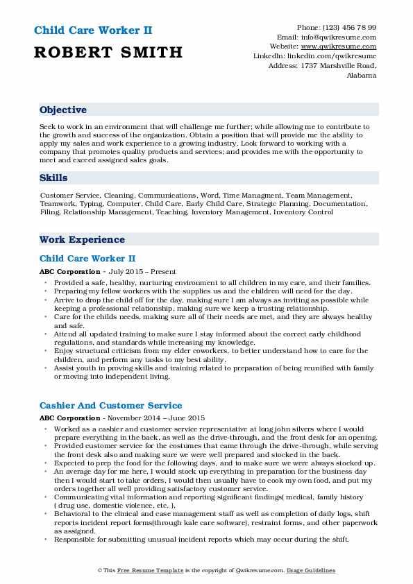 Child Care Worker II Resume Sample
