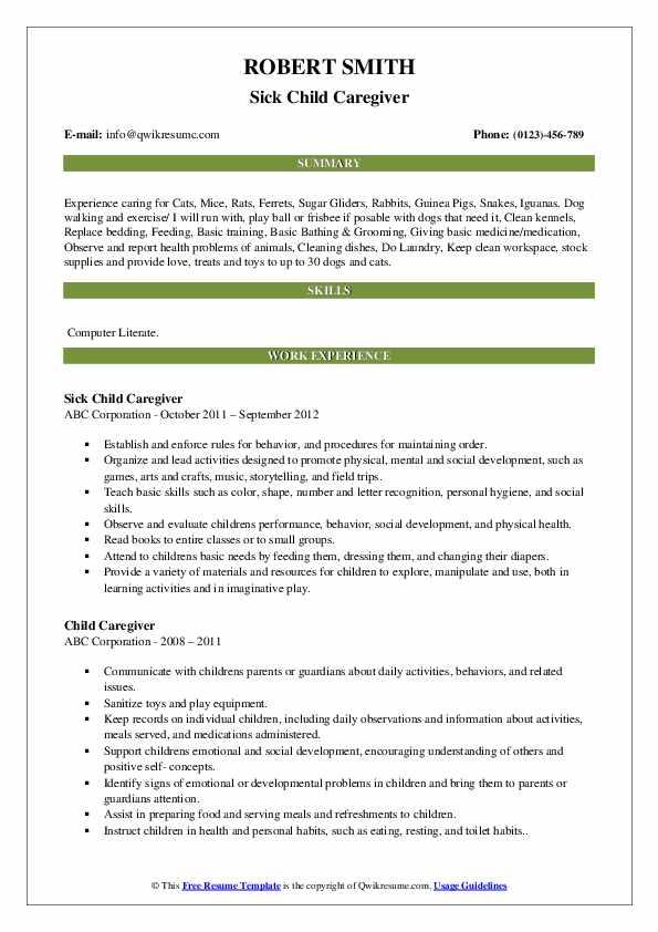 Sick Child Caregiver Resume Sample
