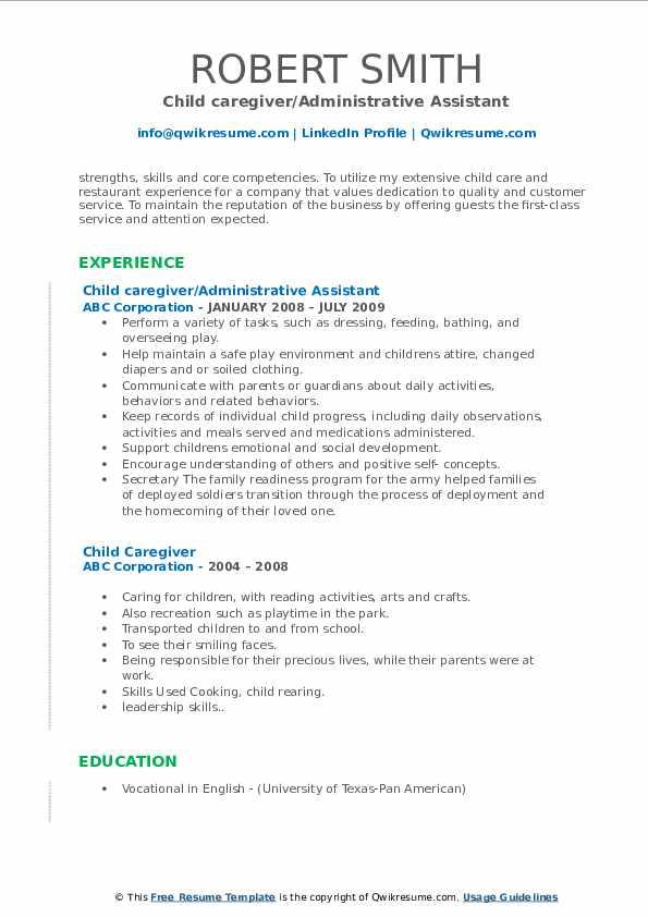 Child caregiver/Administrative Assistant Resume Format