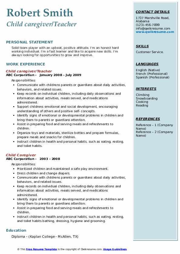 Child caregiver/Teacher Resume Example