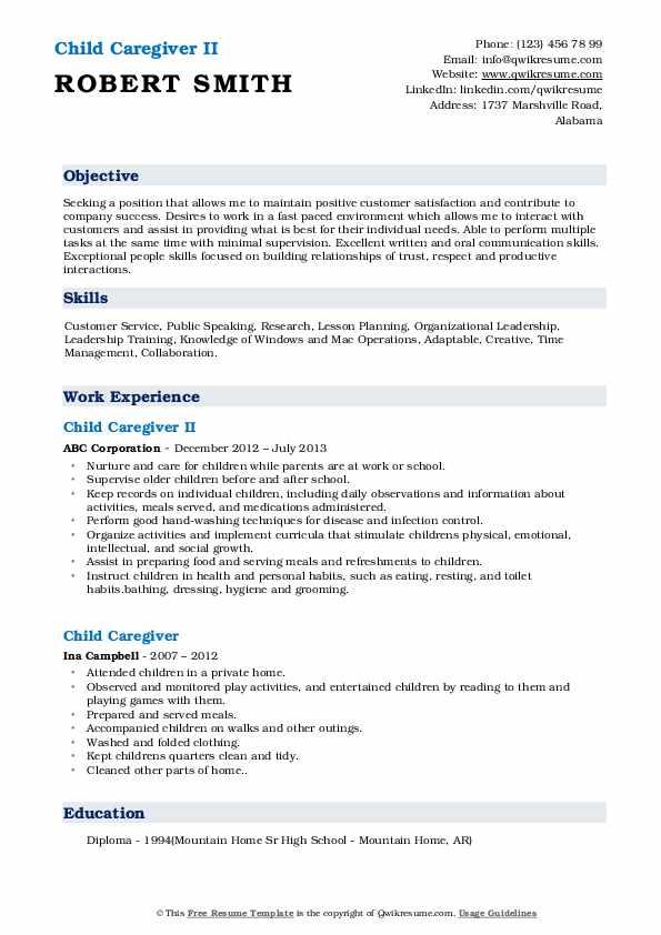 Child Caregiver II Resume Example
