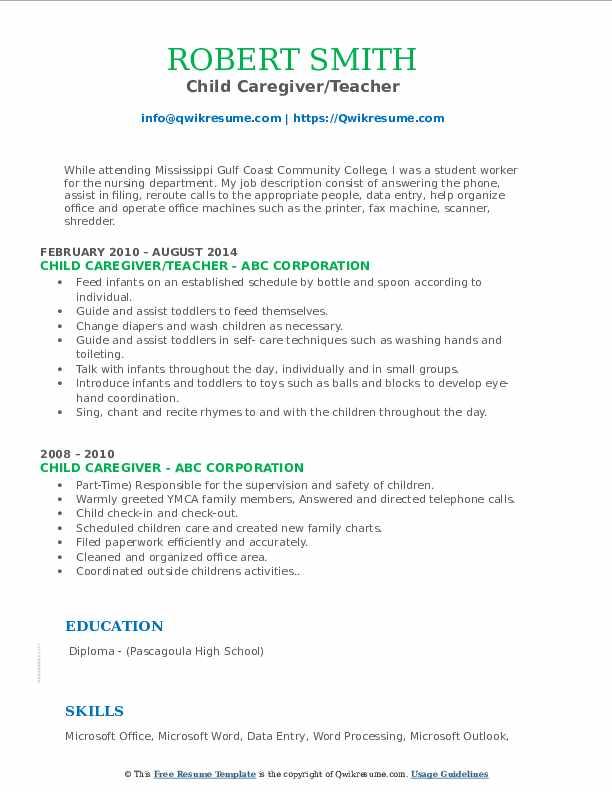 Child Caregiver/Teacher Resume Model