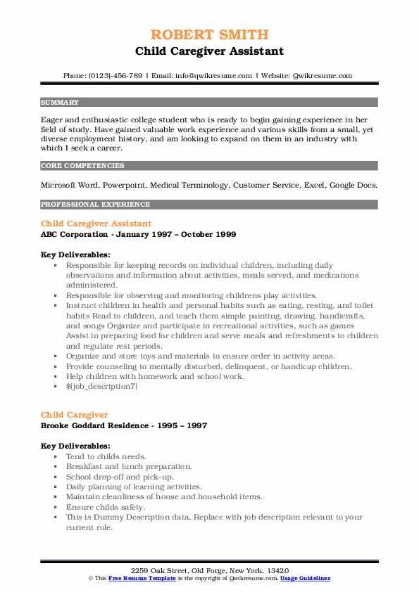 Child Caregiver Assistant Resume Format