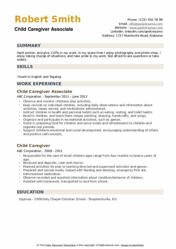 Child Caregiver Associate Resume Format