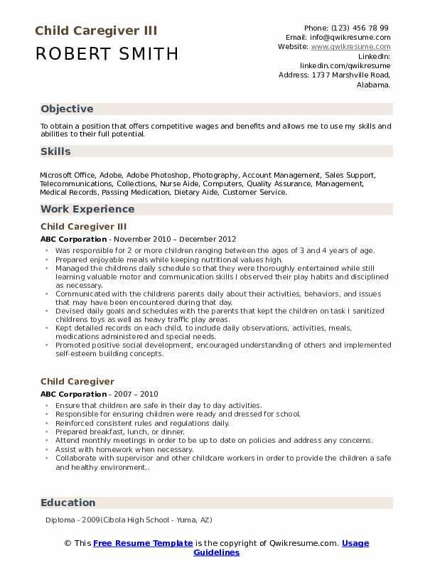 Child Caregiver III Resume Model