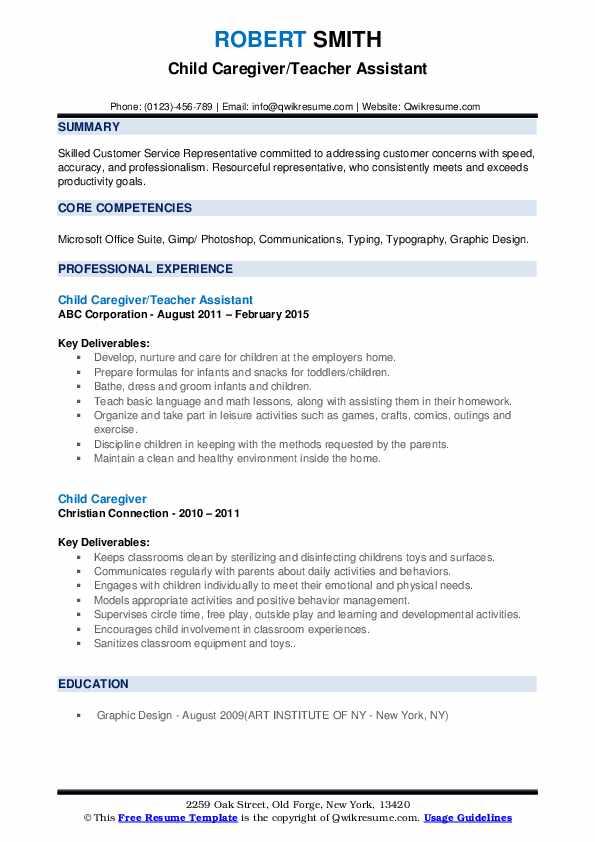 Child Caregiver Resume Samples | QwikResume