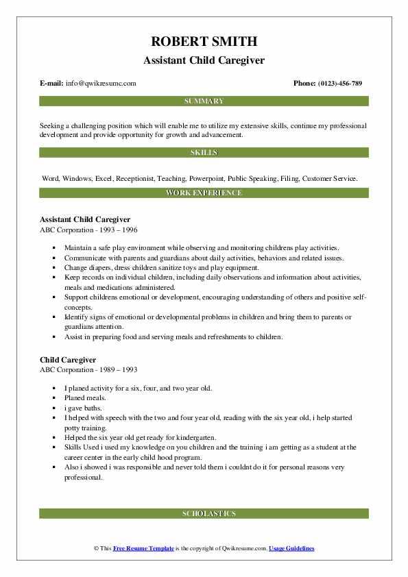 Assistant Child Caregiver Resume Format