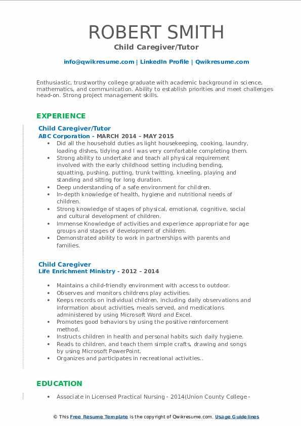 Child Caregiver/Tutor Resume Model
