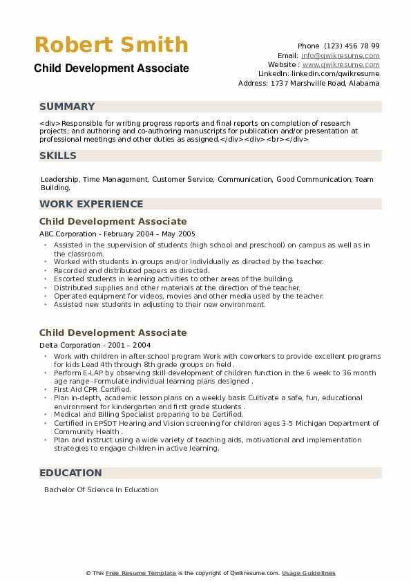 Child Development Associate Resume example
