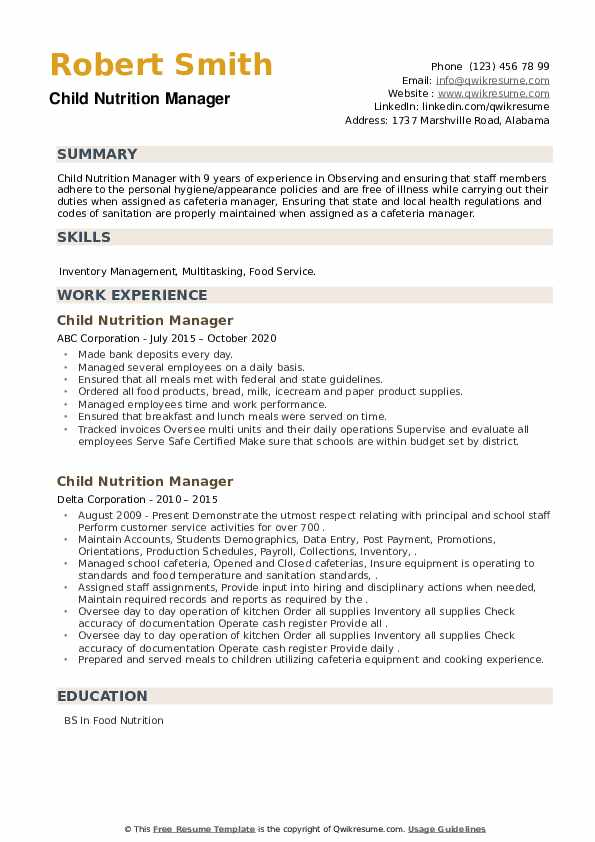 Child Nutrition Manager Resume example