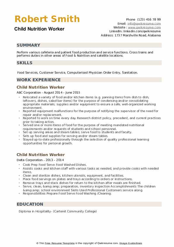 Child Nutrition Worker Resume example
